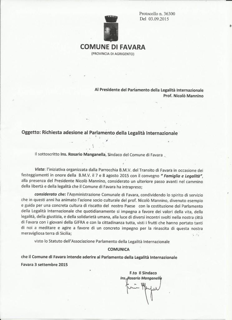 Adesione Comune di Favara